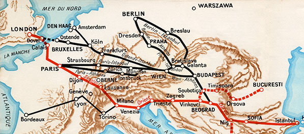 Map of the Simplon Orient-Express